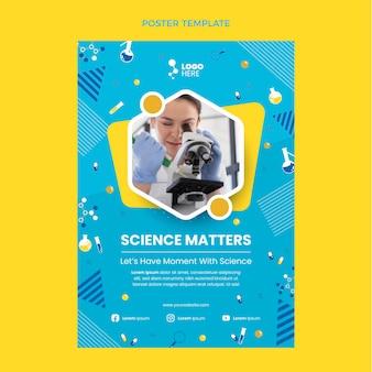 Modello di poster di scienza di design piatto