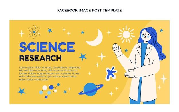 Post di facebook per la ricerca scientifica sul design piatto