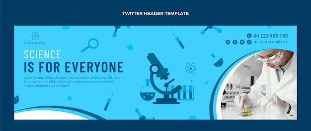 Flat design science twitter header
