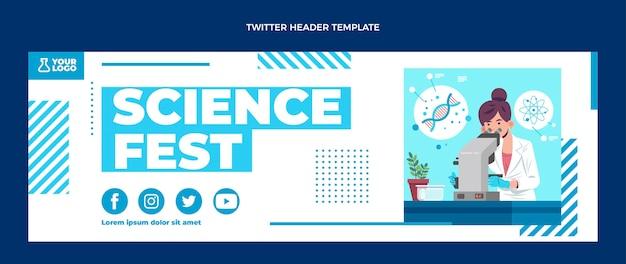 Intestazione twitter di scienza del design piatto