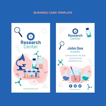 Плоский дизайн науки вертикальная визитная карточка