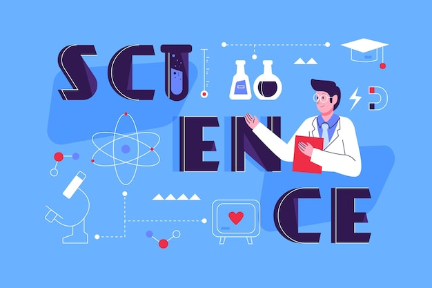 Flat design science word concept