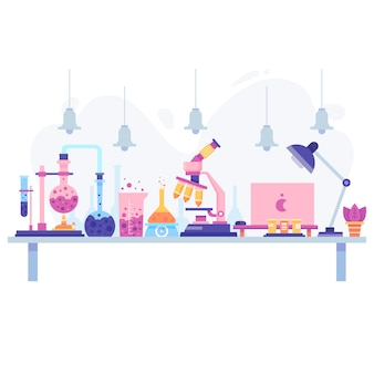 Flat design of a scientific desk with objects