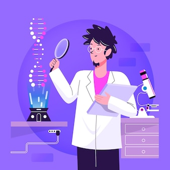 Flat design scientist holding dna molecules illustration