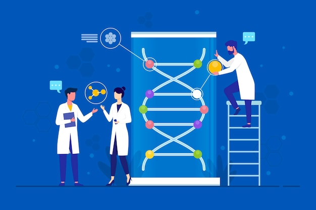 Flat design scientists holding dna molecules