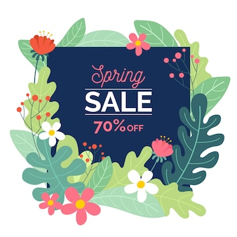 Flat design seasonal spring sale concept