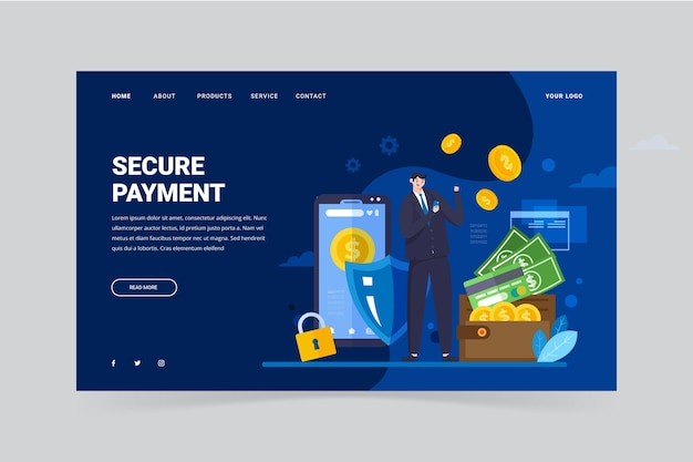 Flat design secure payment landing page template