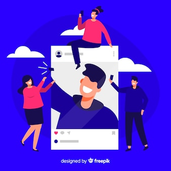 Flat design self photo concept