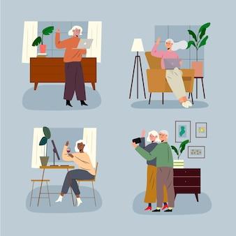 기술을 사용하는 평면 디자인 노인