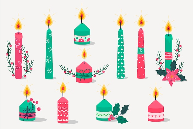 Flat design set christmas candle