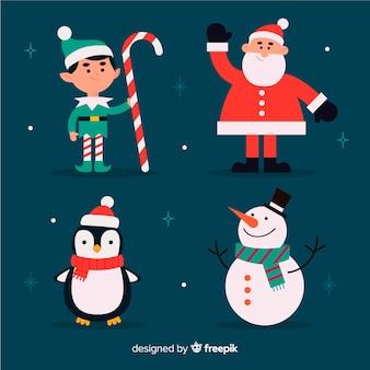 Плоский дизайн набор рождественских персонажей