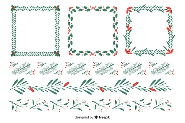 Flat design set christmas frames and borders