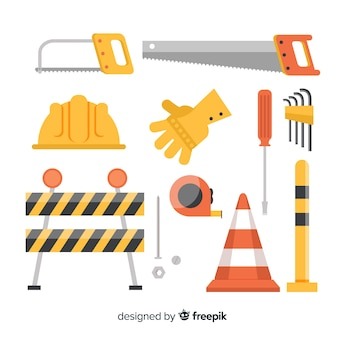 Flat design set of construction gear