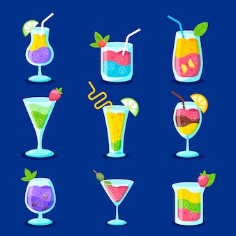 Flat design set of delicious cocktails