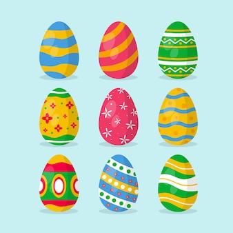 Flat design set easter day egg