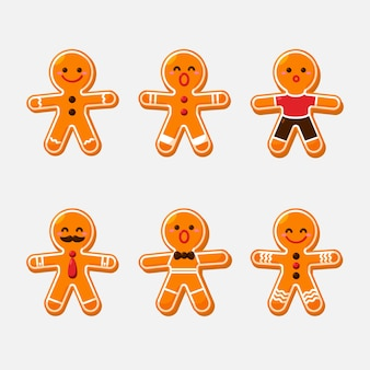Flat design set gingerbread man cookie