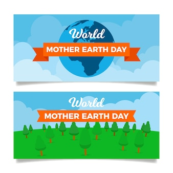 Flat design set mother earth day banner