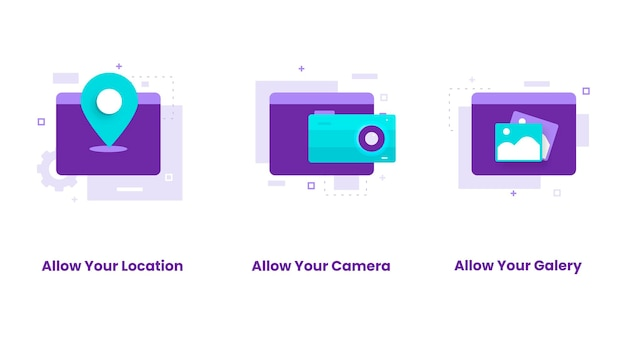 Плоский дизайн набор разрешить местоположение, камеру, галерею. иллюстрации для веб-сайтов, целевых страниц, мобильных приложений, плакатов и баннеров