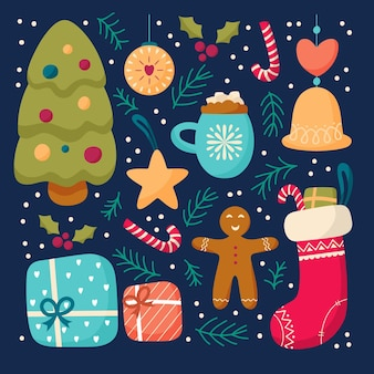 Плоский дизайн набор рождественских элементов