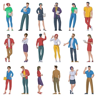 Плоский набор многоэтнических мужских и женских персонажей