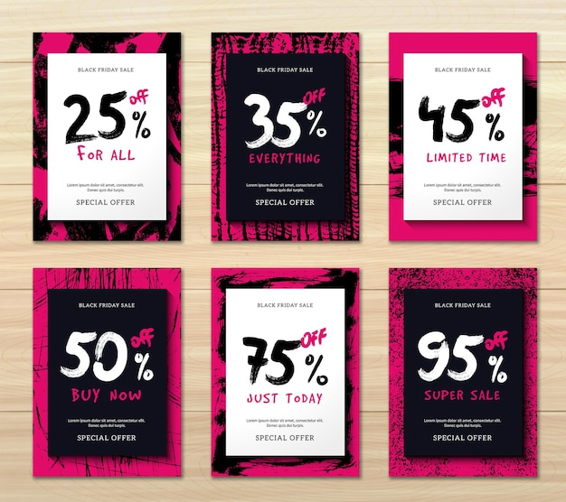 Flat design set of six vertical black friday discounts banners isolated on wooden background illustration