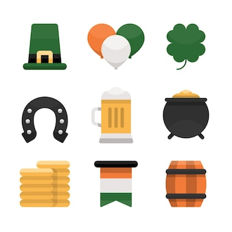 Flat design set st. patrick's day label