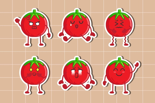 Flat design set of tomato character stickers isolated premium vector