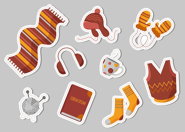 Set design piatto di abiti invernali