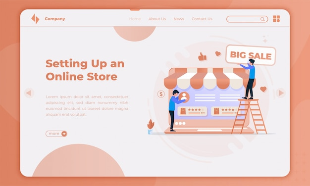 Flat design setting up an online store promotion on landing page
