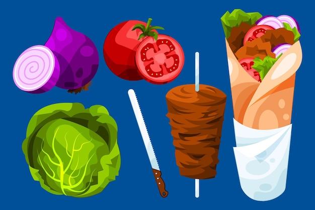 Flat design shawarma illustration