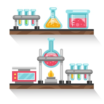 Flat design shelves with chemistry recipients