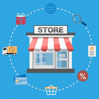 Flat design shop and shopping icons