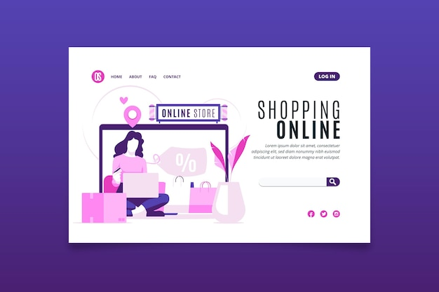 Flat design shopping online landing page online store concept