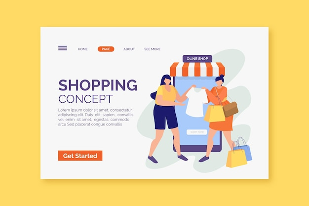 Design piatto shopping online stile landing page