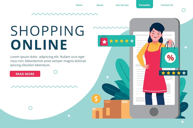 Flat design shopping online landing page template with shop assistant