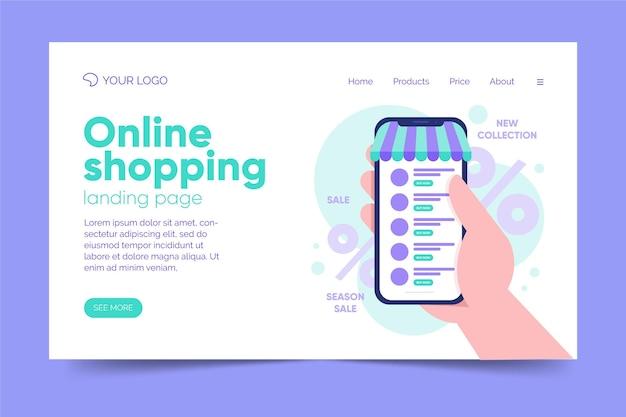 Flat design shopping online landing page template