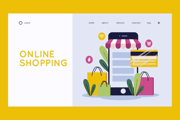 Flat design shopping online landing page template