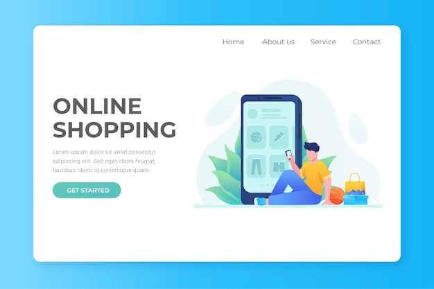 Flat design shopping online landing page with man and phone