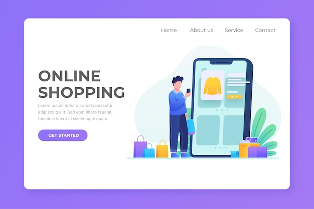 Flat design shopping online landing page with man