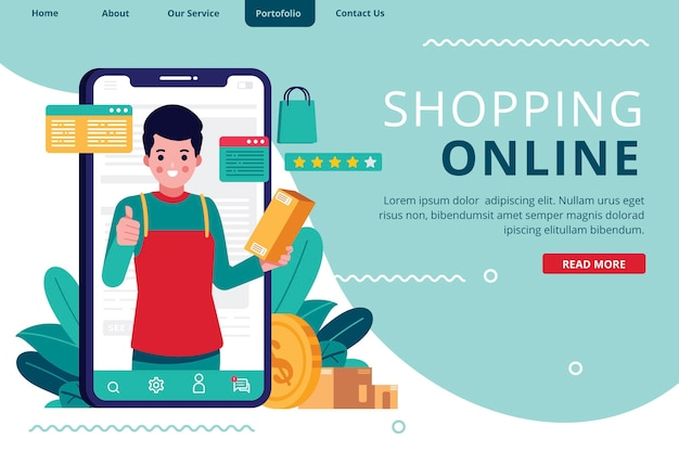 Flat design shopping online landing page with shop assistant