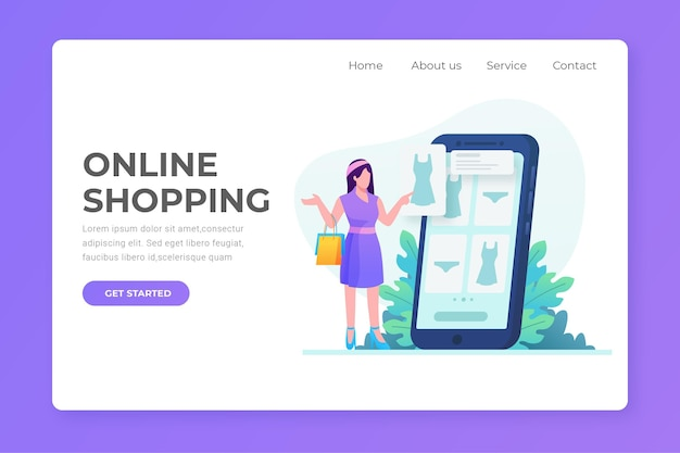 Flat design shopping online landing page with woman