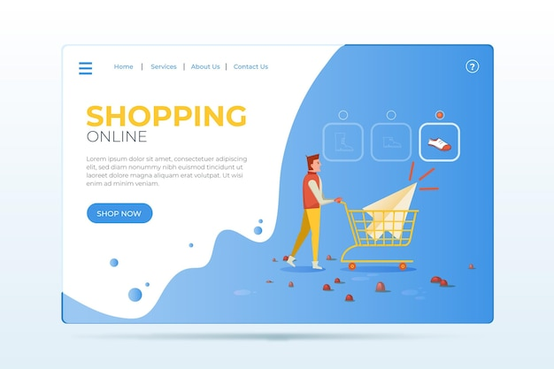 Flat design of shopping online landing page