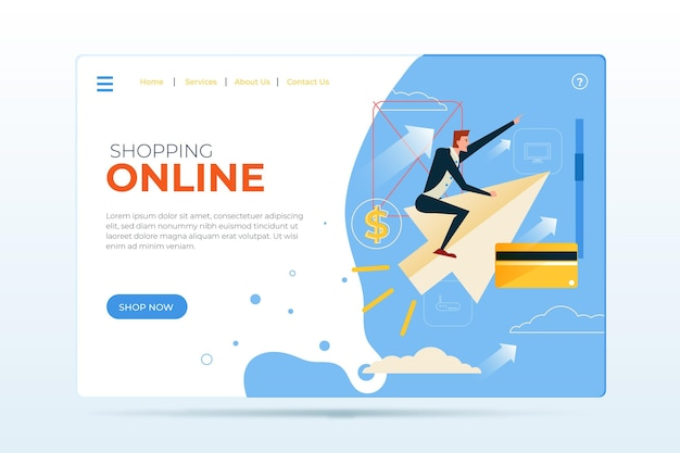 Flat design of shopping online landing page