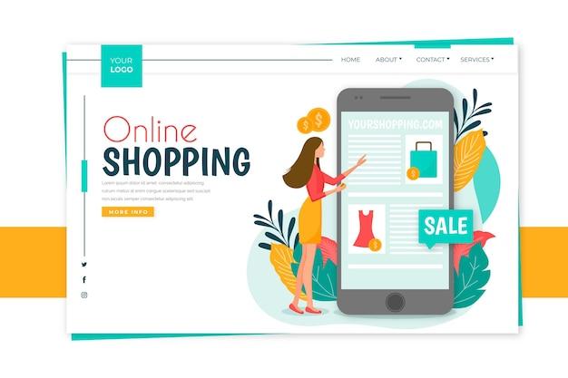 Flat design shopping online landing page