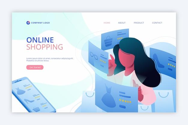 フラットデザインショッピングオンラインランディングページ