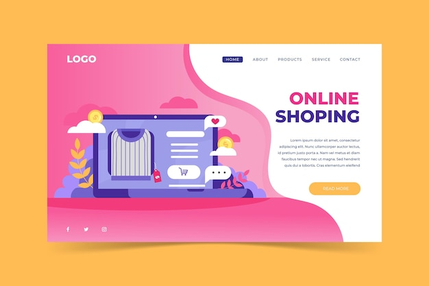 Flat design shopping online website