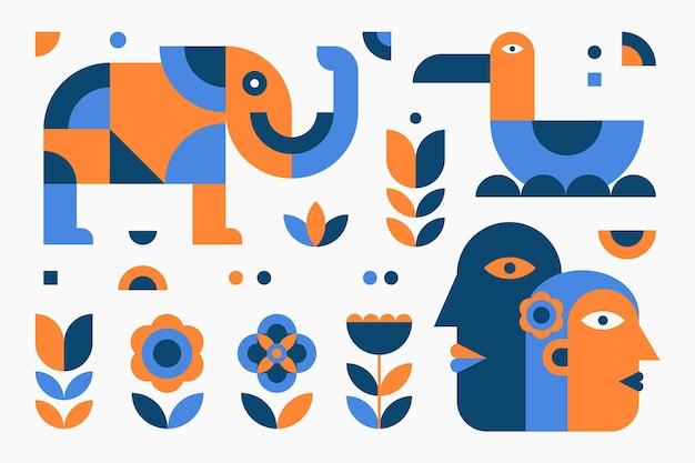 フラットデザインのシンプルな幾何学的要素パック