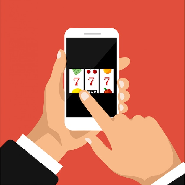 Flat design of slot machine with lucky sevens jackpot on a phone display. hand holds smartphone with jackpot. illustration. isolated