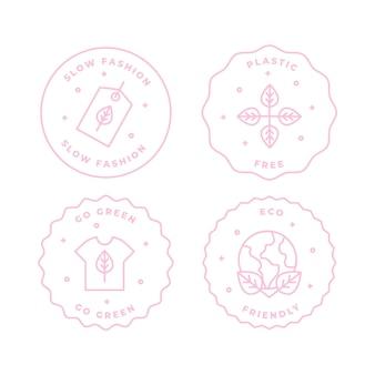フラットデザインスローファッションバッジコレクション