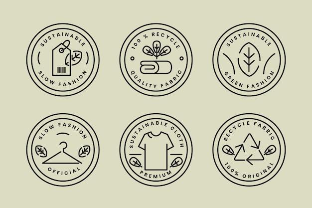 Collezione di badge moda lenta design piatto